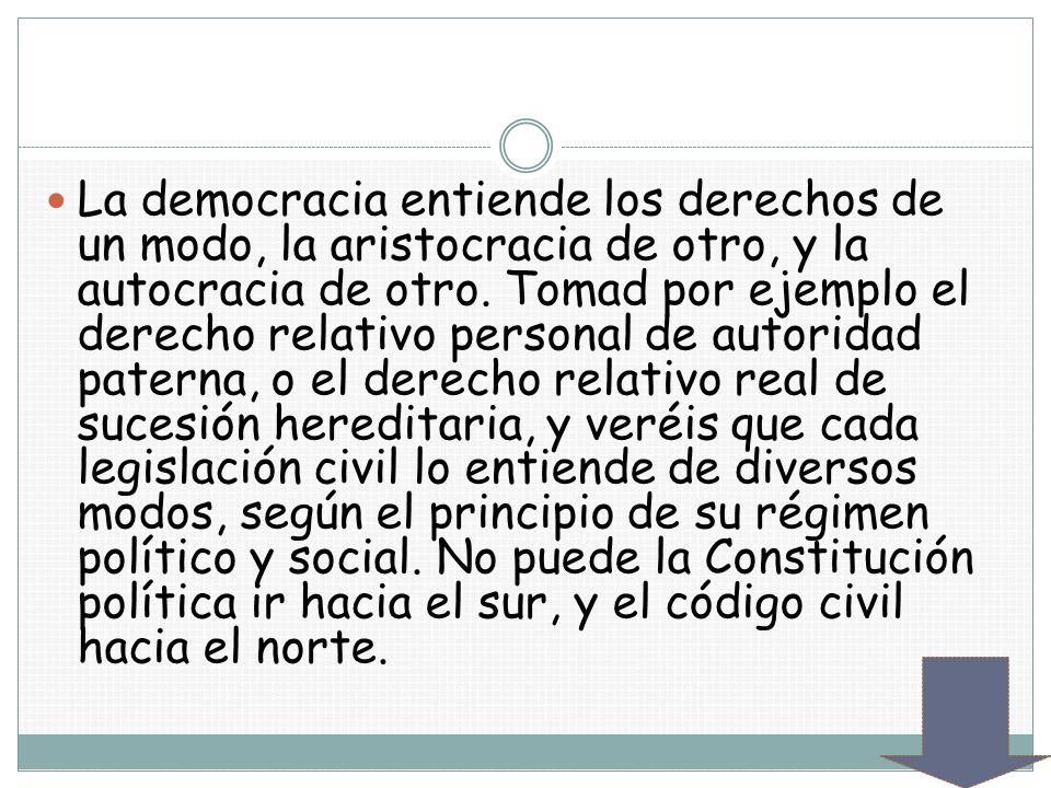 La democracia entiende los derechos de un modo, la aristocracia de otro, y la autocracia de otro.