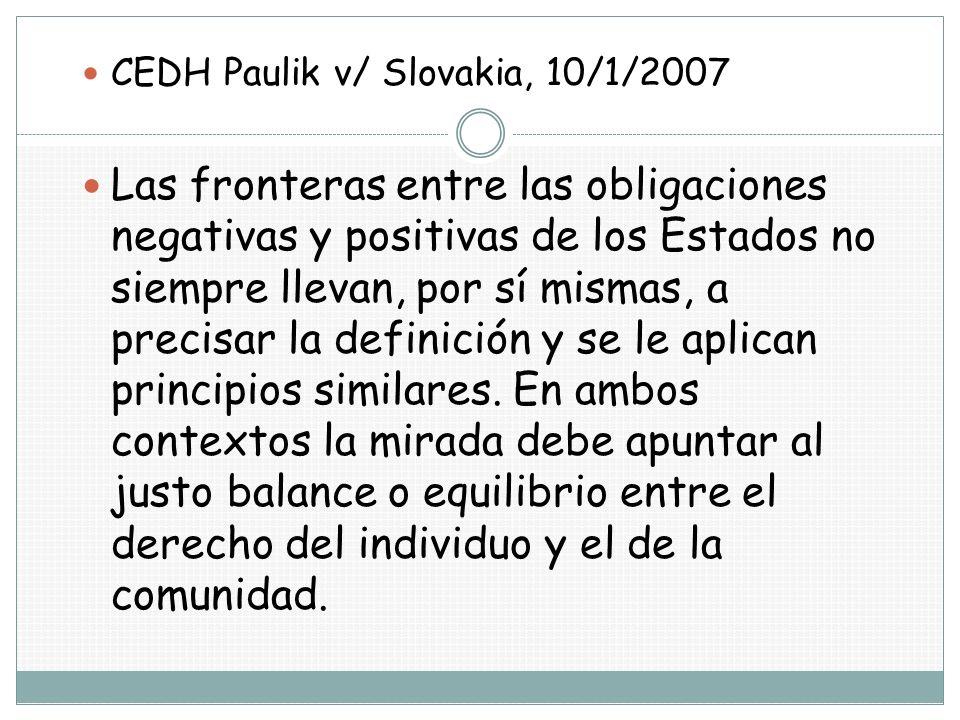 CEDH Paulik v/ Slovakia, 10/1/2007
