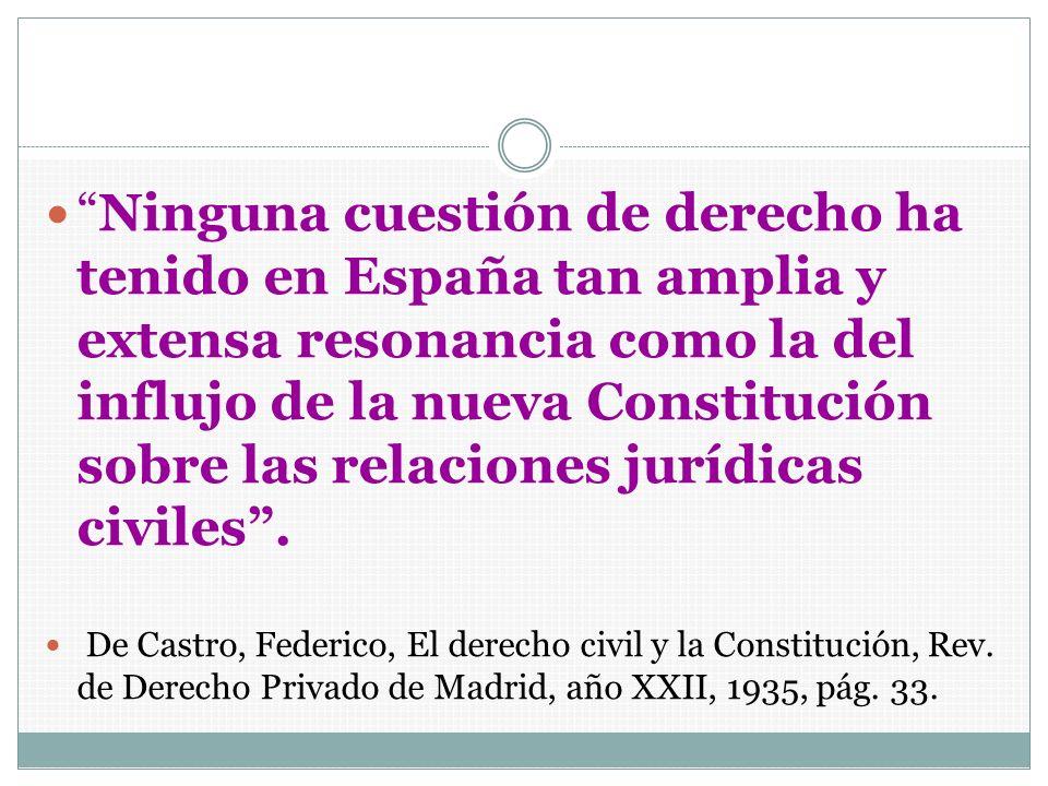 Ninguna cuestión de derecho ha tenido en España tan amplia y extensa resonancia como la del influjo de la nueva Constitución sobre las relaciones jurídicas civiles .