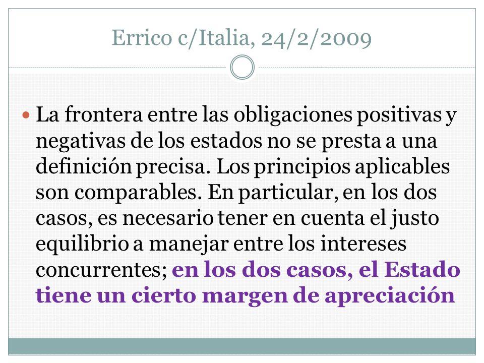 Errico c/Italia, 24/2/2009