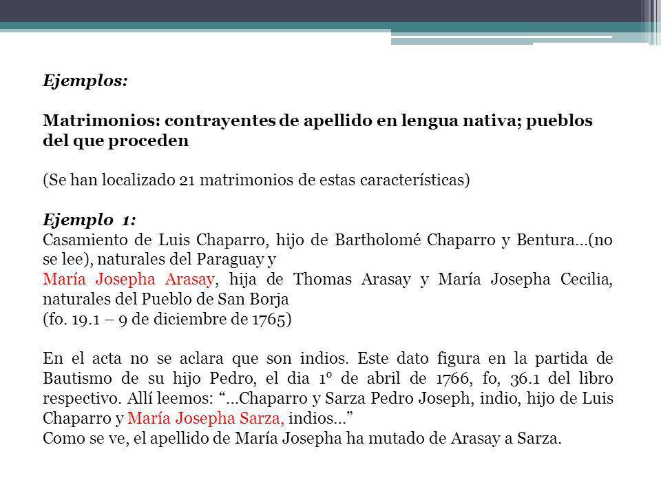 Ejemplos: Matrimonios: contrayentes de apellido en lengua nativa; pueblos del que proceden.