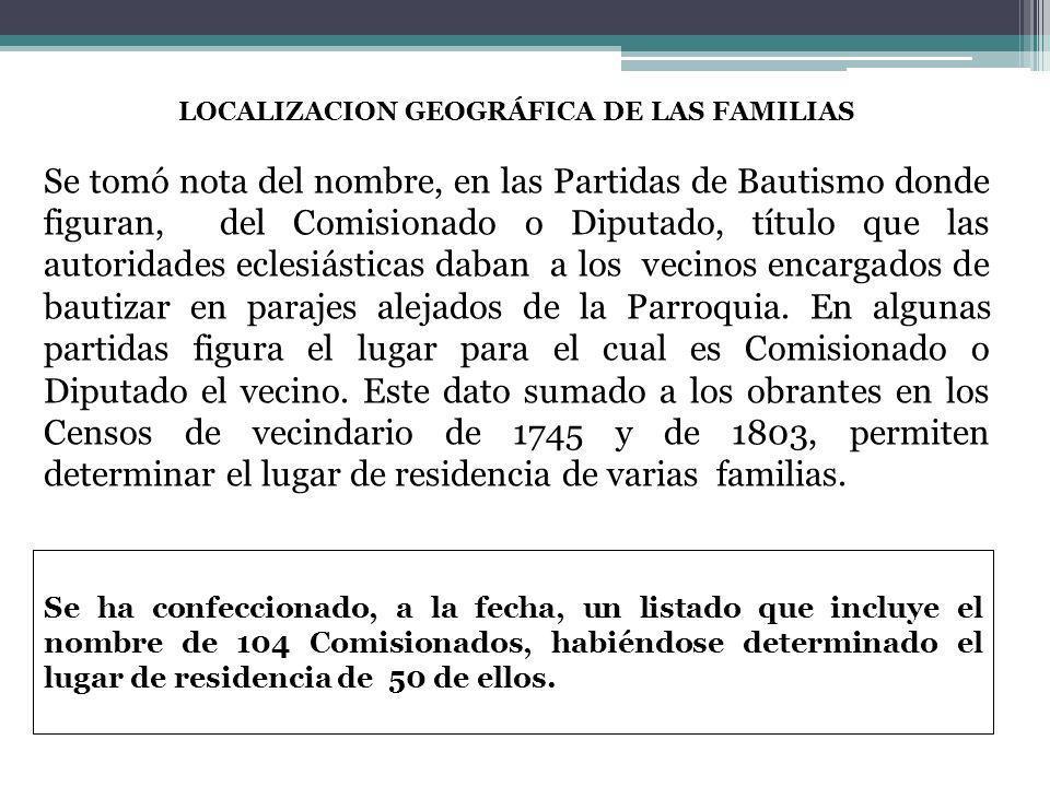 LOCALIZACION GEOGRÁFICA DE LAS FAMILIAS