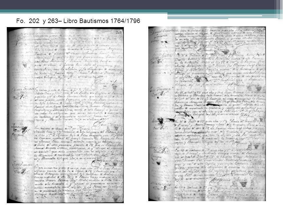 Fo. 202 y 263– Libro Bautismos 1764/1796