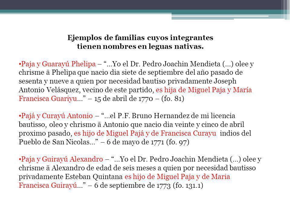 Ejemplos de familias cuyos integrantes