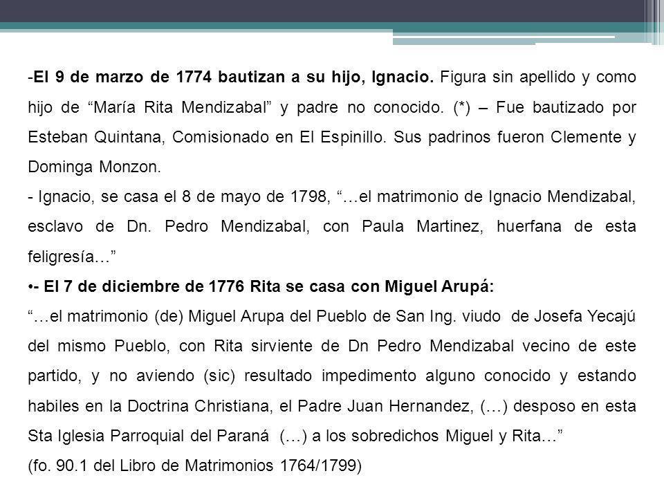El 9 de marzo de 1774 bautizan a su hijo, Ignacio