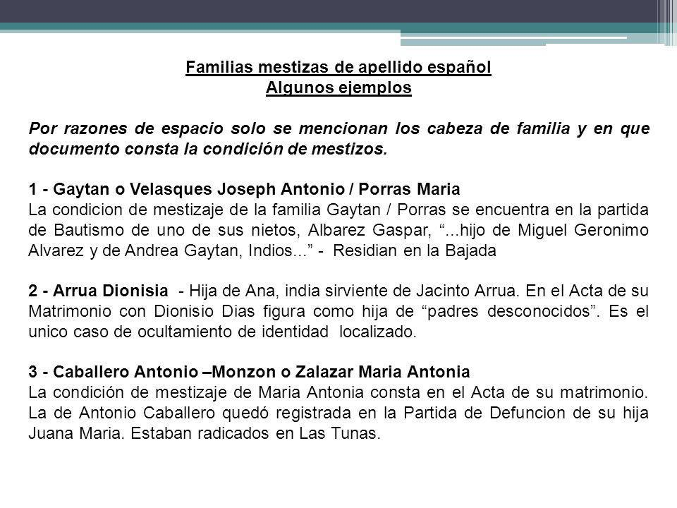 Familias mestizas de apellido español
