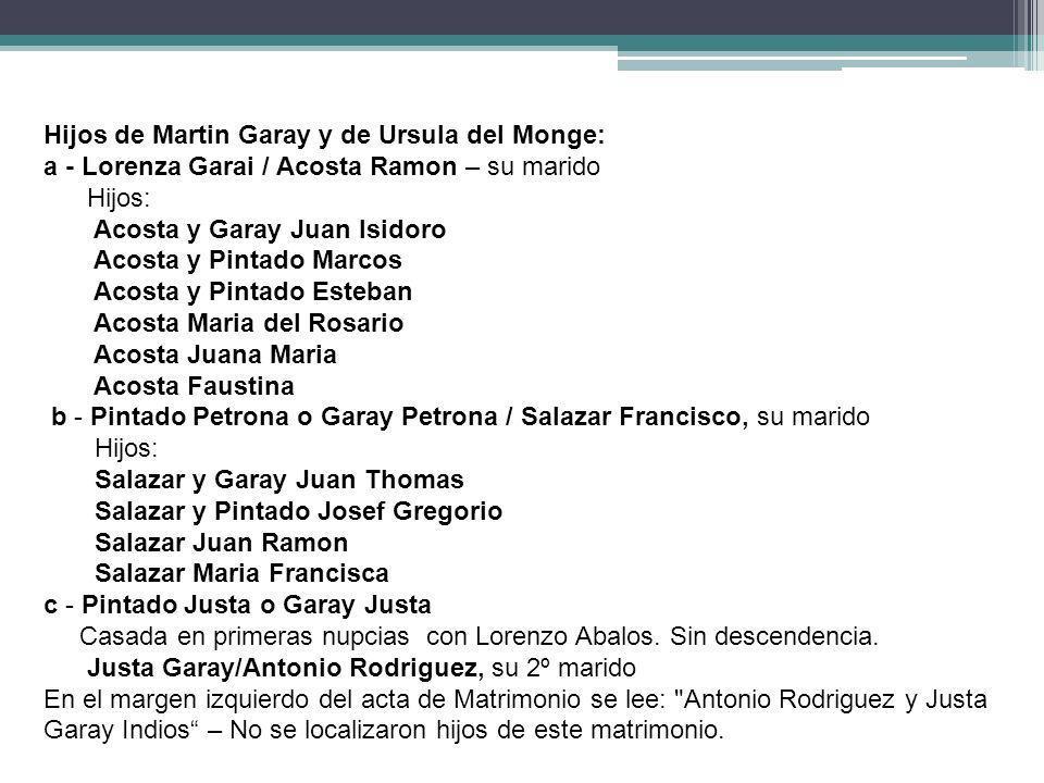 Hijos de Martin Garay y de Ursula del Monge: