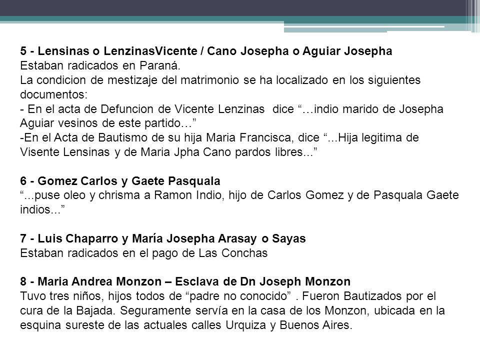5 - Lensinas o LenzinasVicente / Cano Josepha o Aguiar Josepha