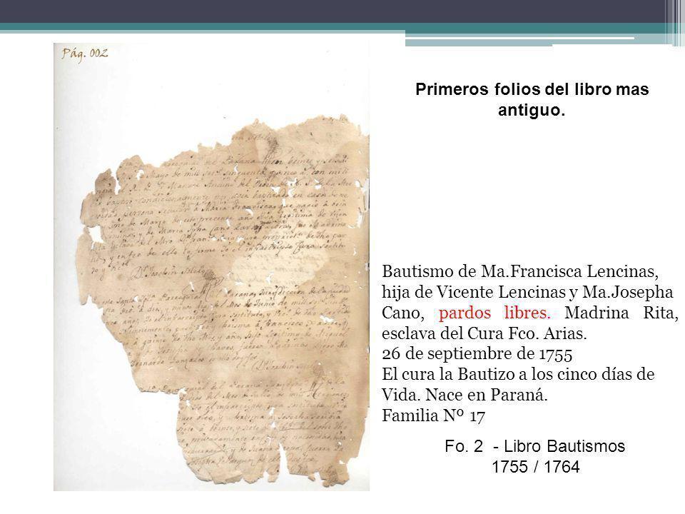 Primeros folios del libro mas