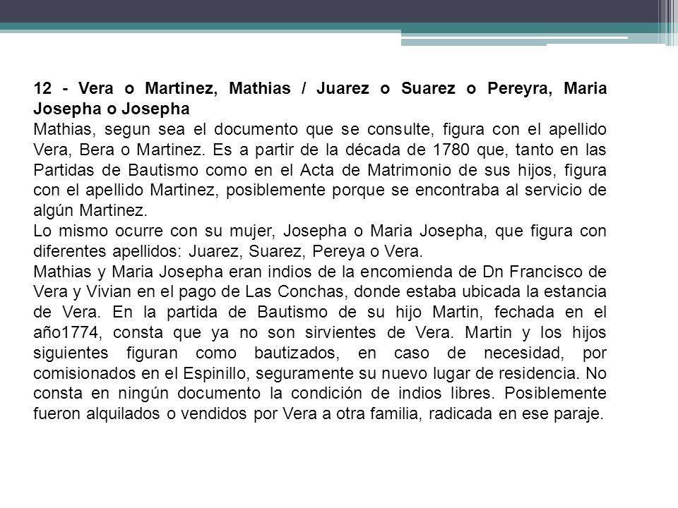 12 - Vera o Martinez, Mathias / Juarez o Suarez o Pereyra, Maria Josepha o Josepha