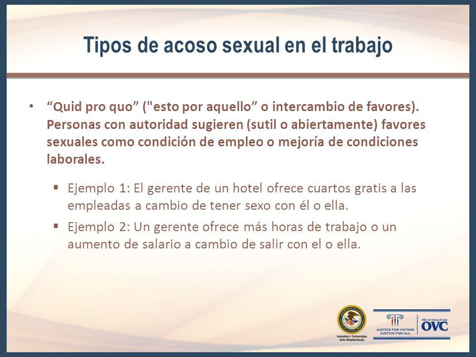Tipos de acoso sexual en el trabajo