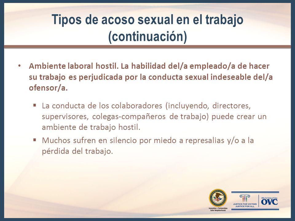 Tipos de acoso sexual en el trabajo (continuación)