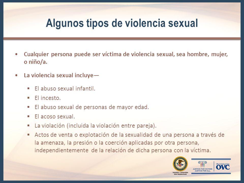 Algunos tipos de violencia sexual