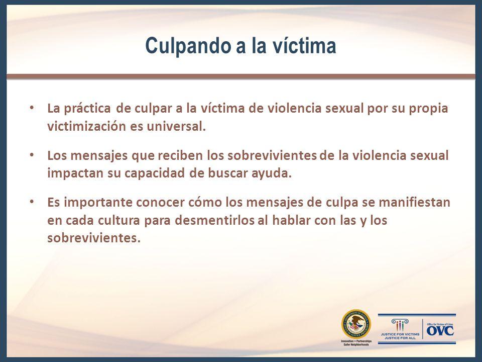 Culpando a la víctima La práctica de culpar a la víctima de violencia sexual por su propia victimización es universal.