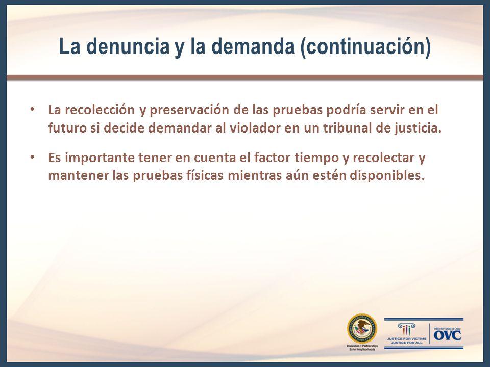 La denuncia y la demanda (continuación)