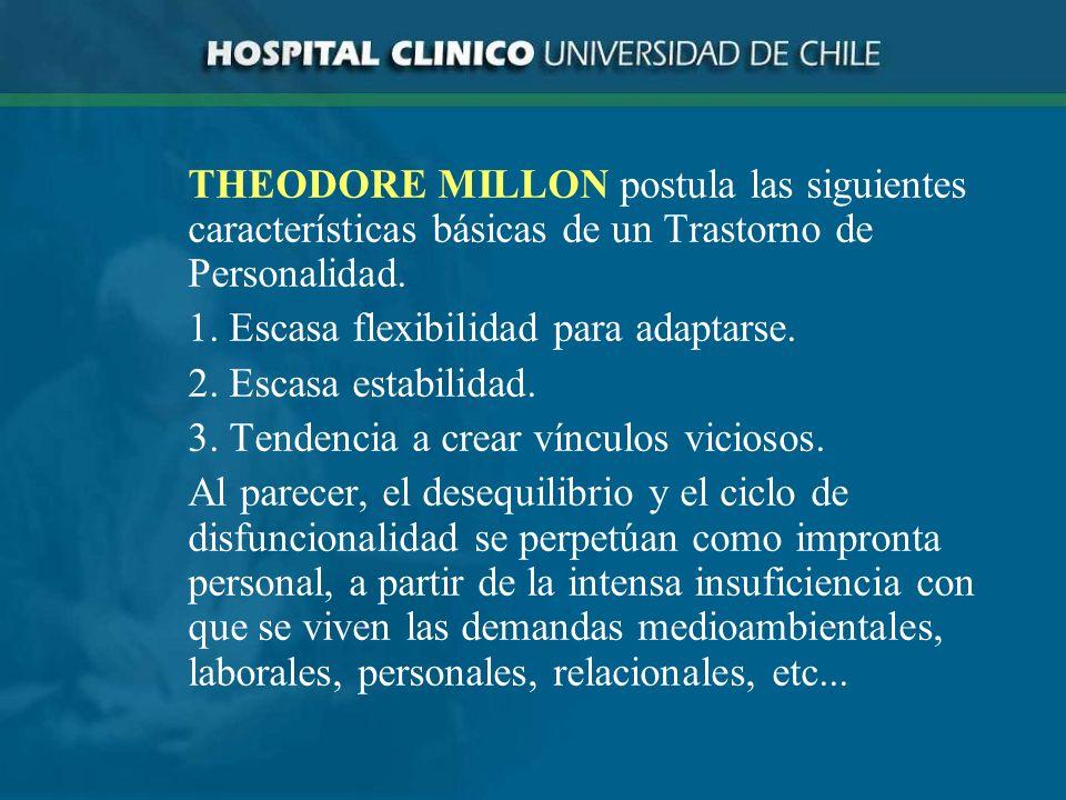THEODORE MILLON postula las siguientes características básicas de un Trastorno de Personalidad.