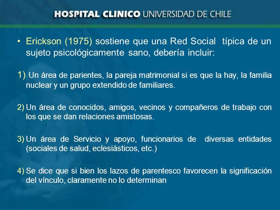 Erickson (1975) sostiene que una Red Social típica de un sujeto psicológicamente sano, debería incluir: