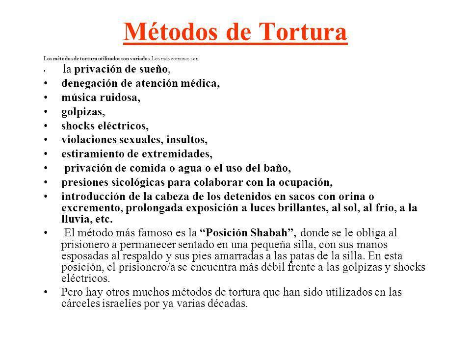 Métodos de Tortura denegación de atención médica, música ruidosa,