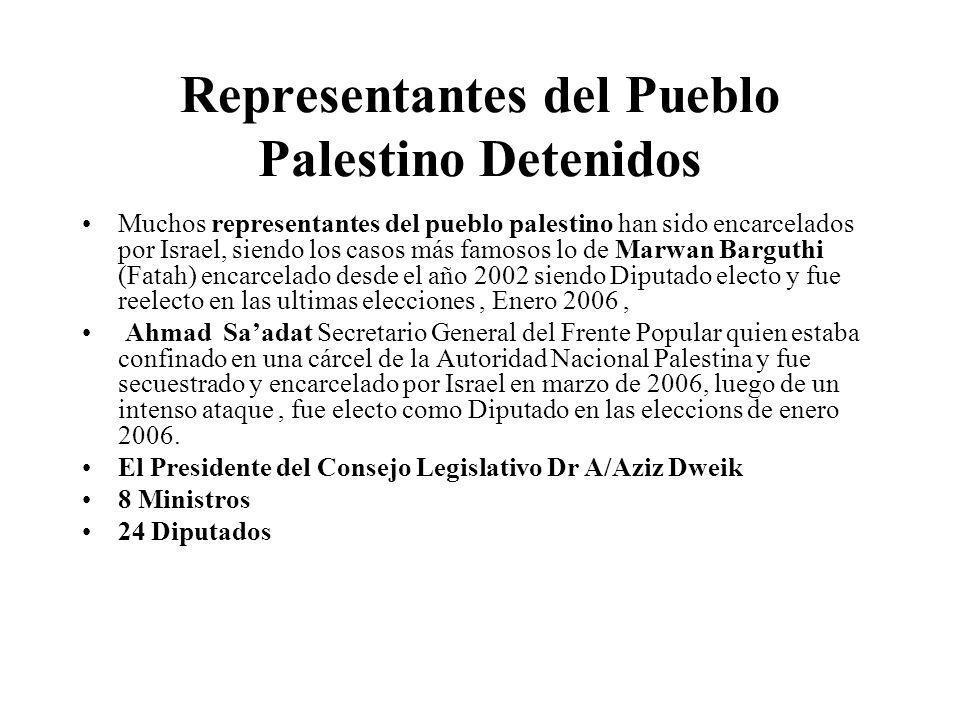 Representantes del Pueblo Palestino Detenidos