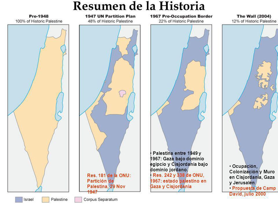 Resumen de la HistoriaPalestina entre 1949 y 1967: Gaza bajo dominio egipcio y Cisjordania bajo dominio jordano.