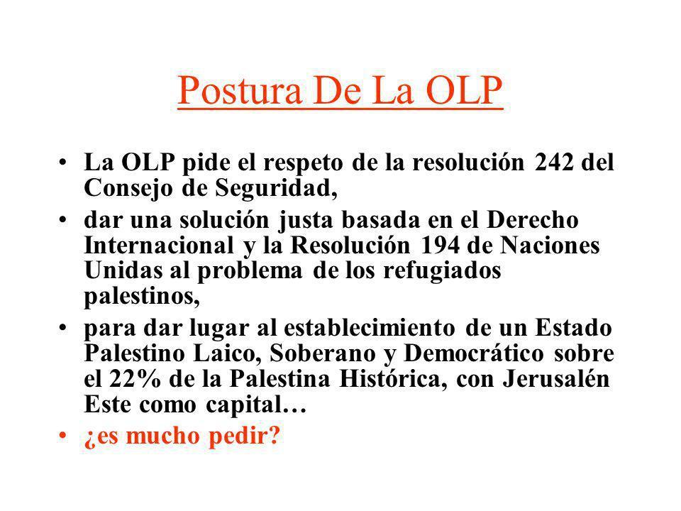 Postura De La OLP La OLP pide el respeto de la resolución 242 del Consejo de Seguridad,