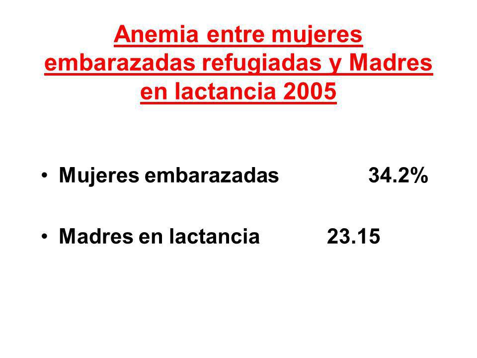 Anemia entre mujeres embarazadas refugiadas y Madres en lactancia 2005