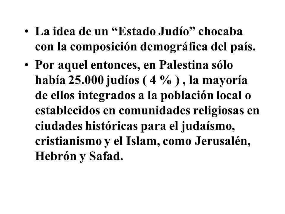 La idea de un Estado Judío chocaba con la composición demográfica del país.