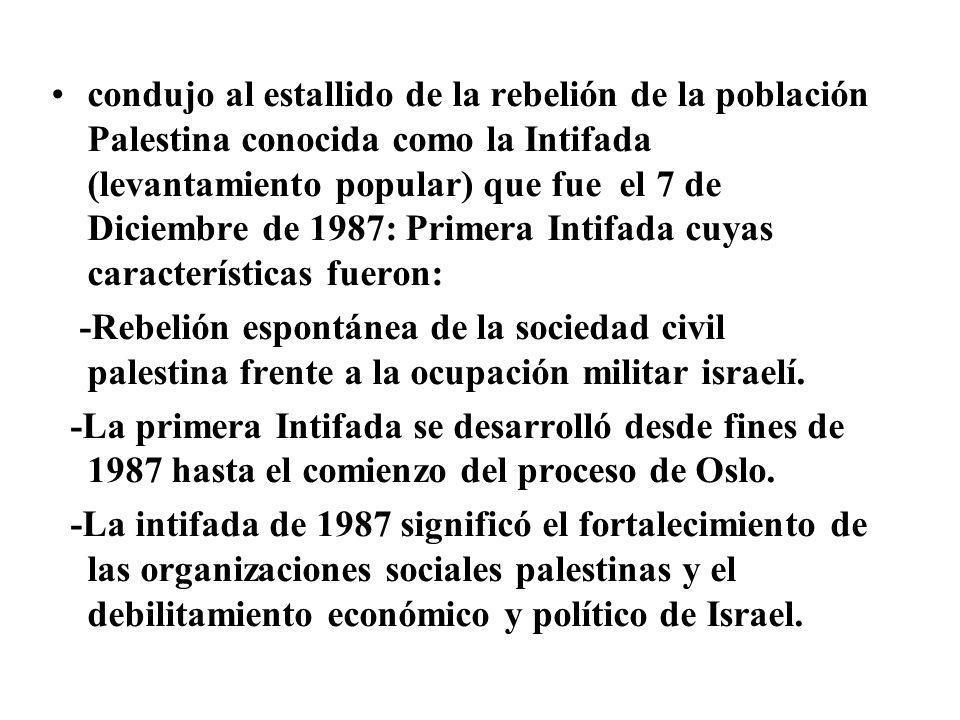 condujo al estallido de la rebelión de la población Palestina conocida como la Intifada (levantamiento popular) que fue el 7 de Diciembre de 1987: Primera Intifada cuyas características fueron: