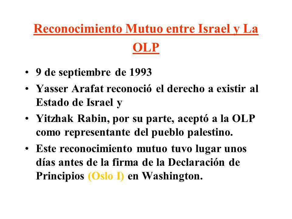 Reconocimiento Mutuo entre Israel y La OLP