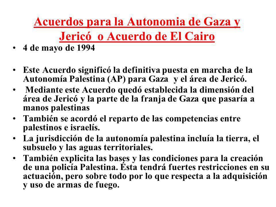 Acuerdos para la Autonomia de Gaza y Jericó o Acuerdo de El Cairo