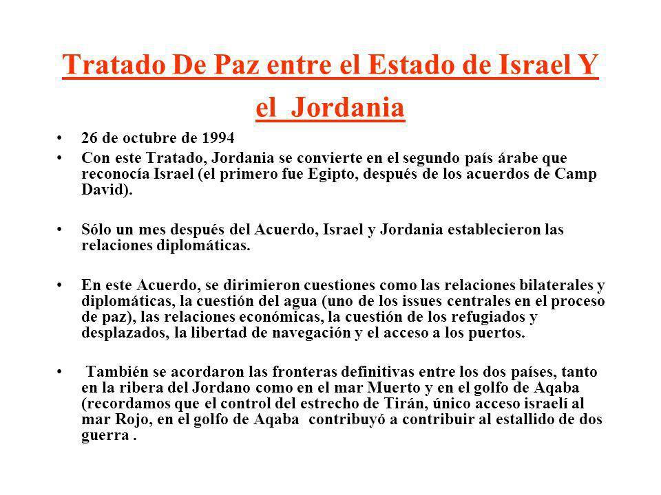 Tratado De Paz entre el Estado de Israel Y el Jordania