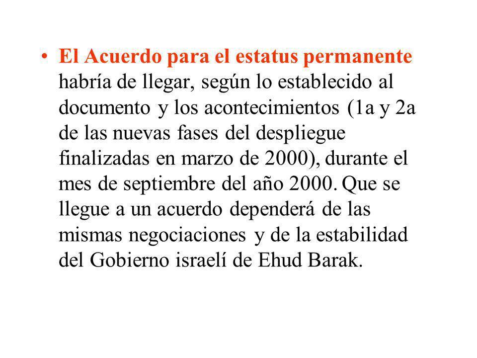 El Acuerdo para el estatus permanente habría de llegar, según lo establecido al documento y los acontecimientos (1a y 2a de las nuevas fases del despliegue finalizadas en marzo de 2000), durante el mes de septiembre del año 2000.