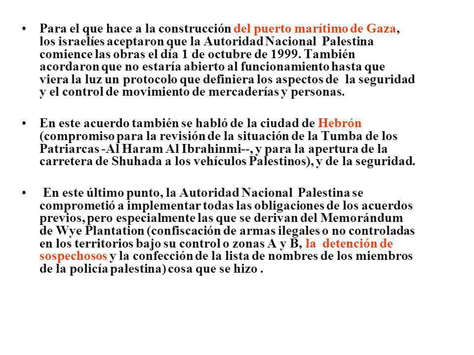 Para el que hace a la construcción del puerto marítimo de Gaza, los israelíes aceptaron que la Autoridad Nacional Palestina comience las obras el día 1 de octubre de 1999. También acordaron que no estaría abierto al funcionamiento hasta que viera la luz un protocolo que definiera los aspectos de la seguridad y el control de movimiento de mercaderías y personas.