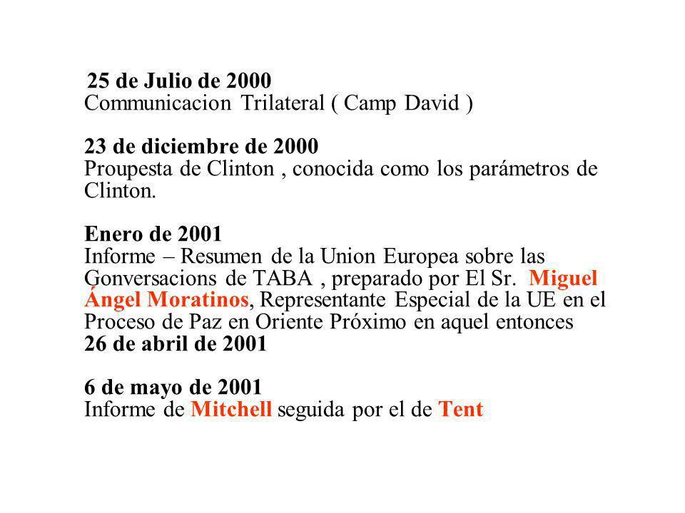 25 de Julio de 2000 Communicacion Trilateral ( Camp David ) 23 de diciembre de 2000 Proupesta de Clinton , conocida como los parámetros de Clinton.