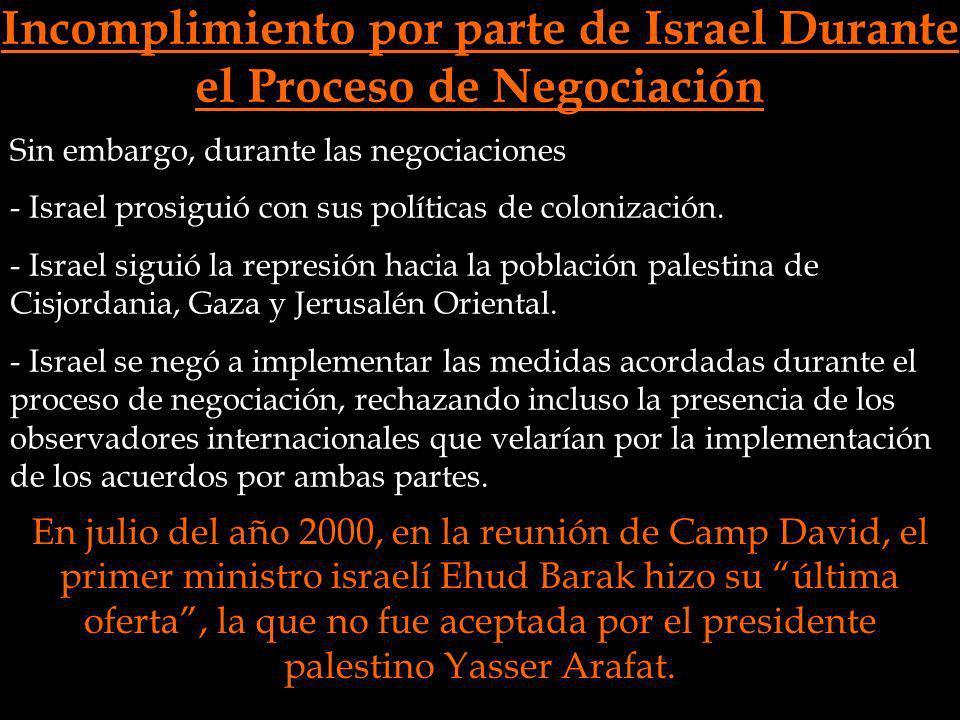 Incomplimiento por parte de Israel Durante el Proceso de Negociación