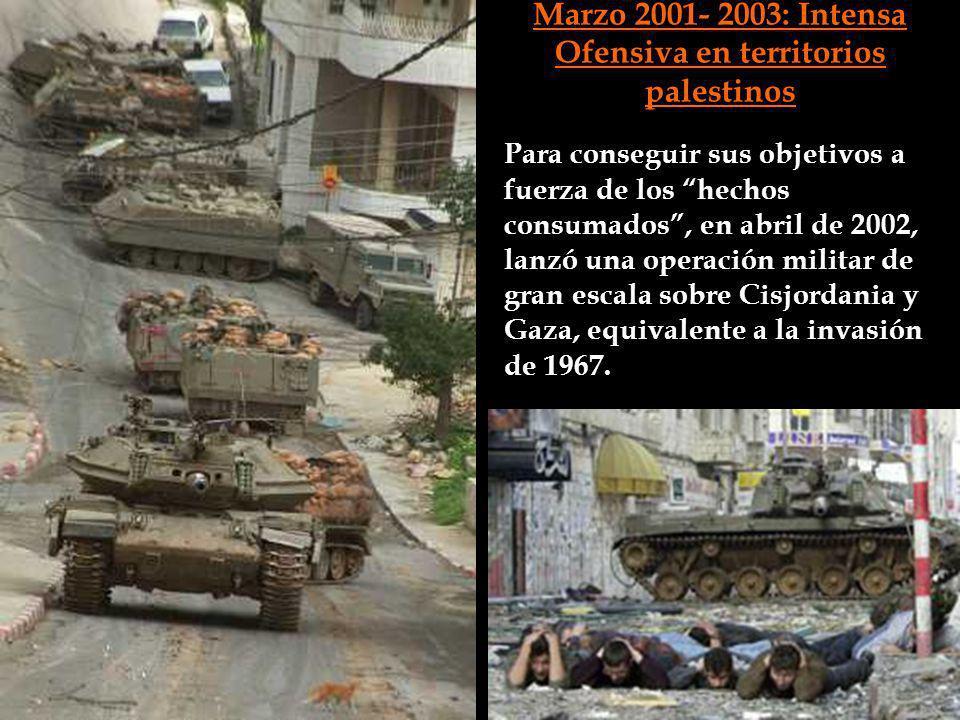 Marzo 2001- 2003: Intensa Ofensiva en territorios palestinos