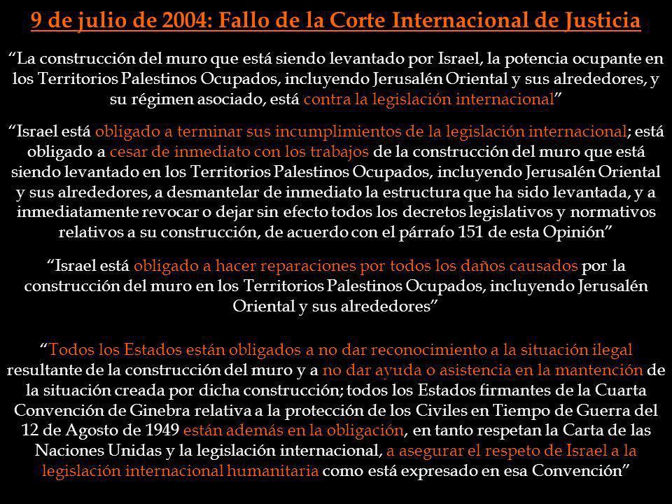 9 de julio de 2004: Fallo de la Corte Internacional de Justicia