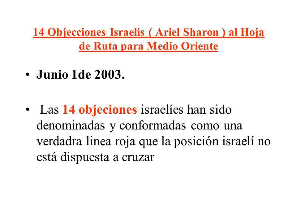 14 Objecciones Israelis ( Ariel Sharon ) al Hoja de Ruta para Medio Oriente