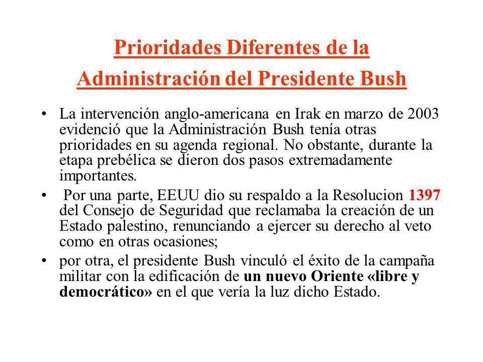 Prioridades Diferentes de la Administración del Presidente Bush