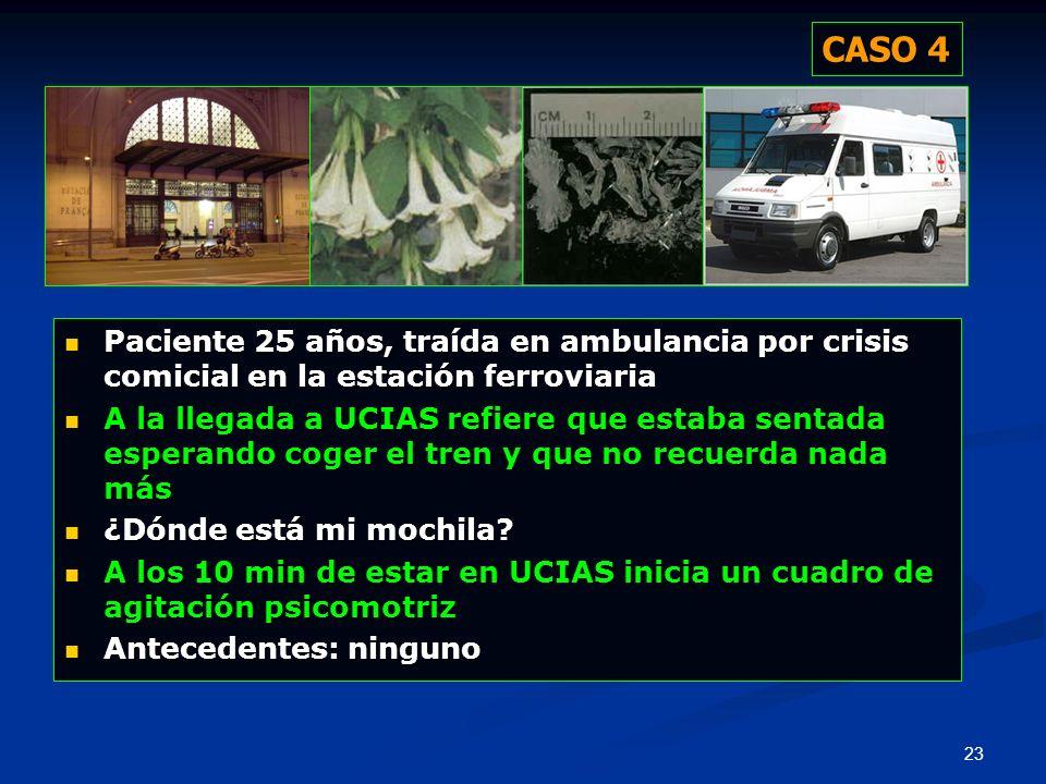CASO 4 Paciente 25 años, traída en ambulancia por crisis comicial en la estación ferroviaria.