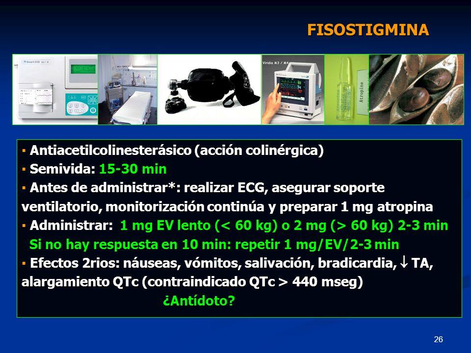 FISOSTIGMINA ▪ Antiacetilcolinesterásico (acción colinérgica)