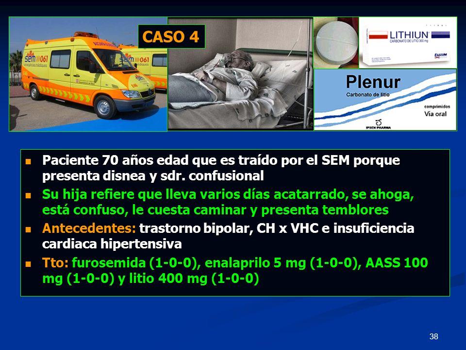 CASO 4 Paciente 70 años edad que es traído por el SEM porque presenta disnea y sdr. confusional.