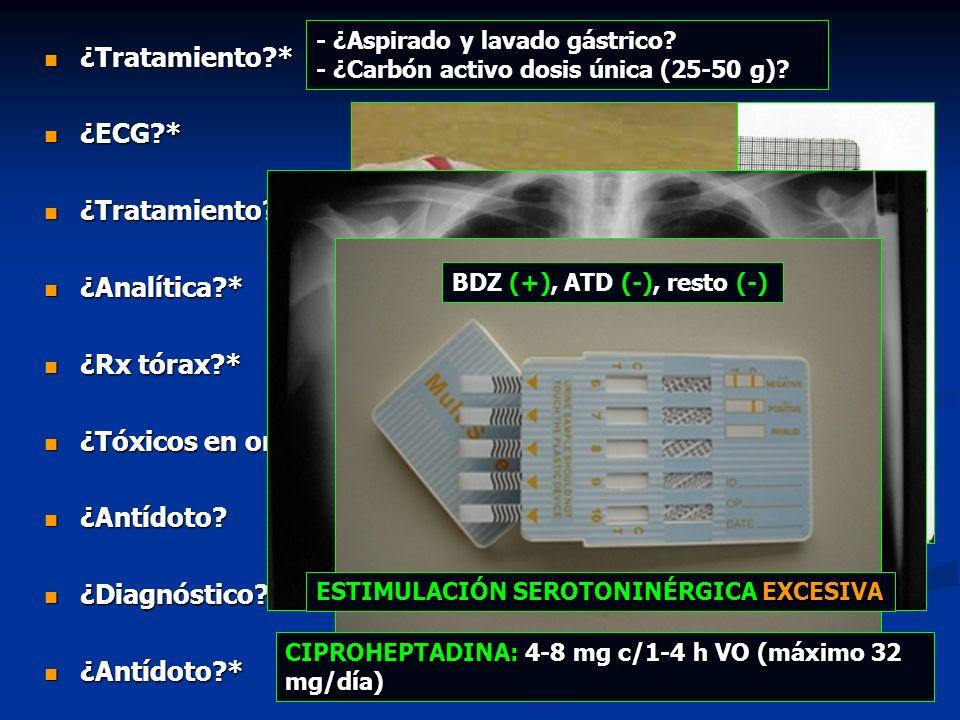 ¿Tratamiento * ¿ECG * ¿Analítica * ¿Rx tórax * ¿Tóxicos en orina *