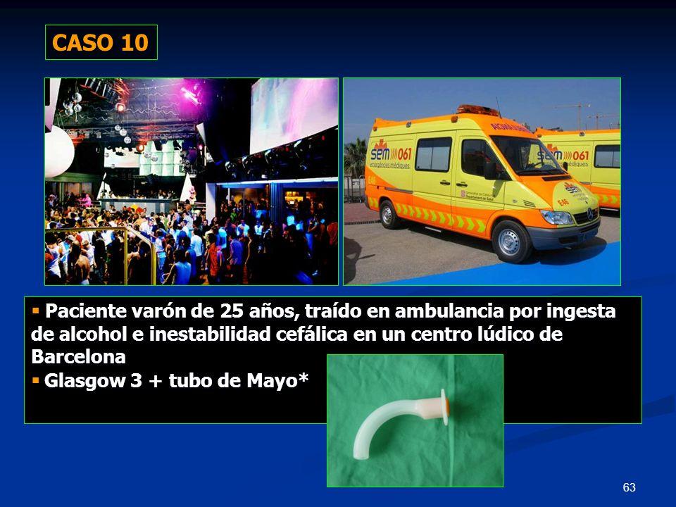 CASO 10  Paciente varón de 25 años, traído en ambulancia por ingesta de alcohol e inestabilidad cefálica en un centro lúdico de Barcelona.