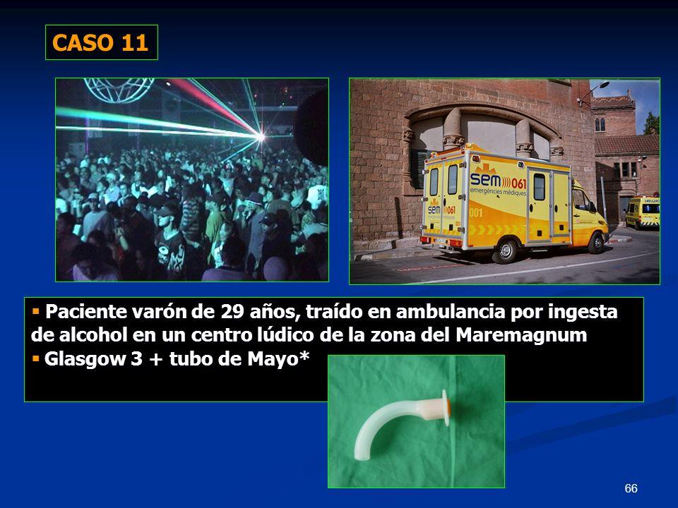 CASO 11  Paciente varón de 29 años, traído en ambulancia por ingesta de alcohol en un centro lúdico de la zona del Maremagnum.