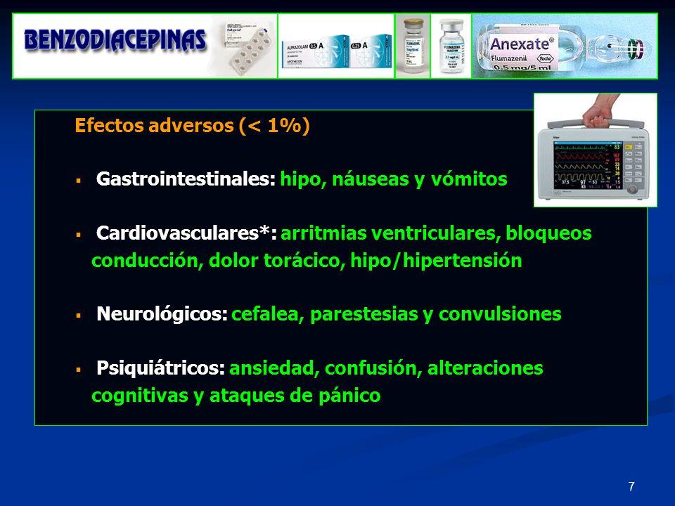 Efectos adversos (< 1%)