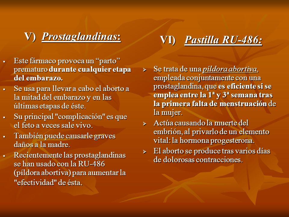 VI) Pastilla RU-486: V) Prostaglandinas: