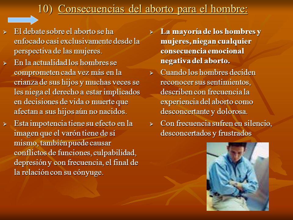 10) Consecuencias del aborto para el hombre: