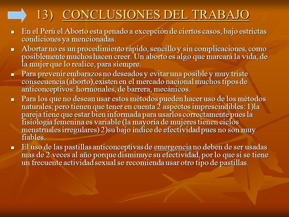 13) CONCLUSIONES DEL TRABAJO