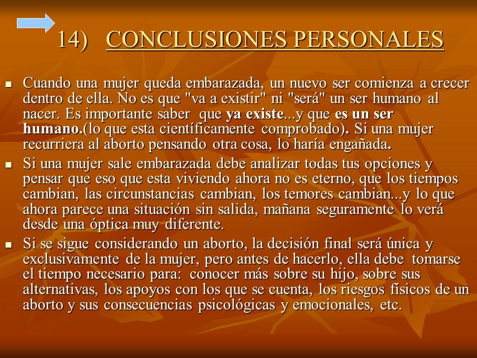 14) CONCLUSIONES PERSONALES